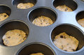 Raw cookie dough squares muffin pan Royalty Free Stock Image
