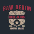 Raw denim graphic for t-shirt,tee design,vector illustration