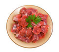 Raw Diced Beef Stock Image
