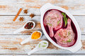 Raw duck legs marinated in mulled wine Royalty Free Stock Photo