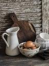 Raw Eggs In A Bowl, Enamelled ...