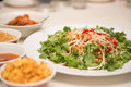 Raw fish salad also known as yu sheng or lo hei a chinese new tradition food in year Stock Image