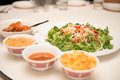 Raw fish salad also known as yu sheng or lo hei a chinese new tradition food in year Royalty Free Stock Image