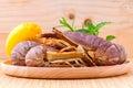 Raw flathead lobster lobster moreton bay bug oriental flathead on wooden background Royalty Free Stock Photo