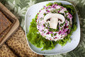Raw food Salad with mushroom Royalty Free Stock Photo