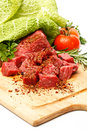 Raw fresh meat sliced in cubes Royalty Free Stock Photo