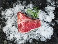 Raw fresh meat t-bone steak on chipped ice Royalty Free Stock Photo
