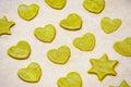 Raw homemade cookies with green tea matcha Royalty Free Stock Photo