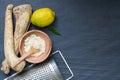 Raw horseradish and spices abstract still life Royalty Free Stock Photo