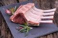 Raw lamb rack Royalty Free Stock Photo