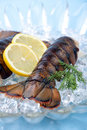 Raw lobster tails Stock Photo