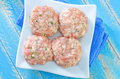 Raw meat balls on a table Royalty Free Stock Photos