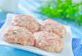 Raw meat balls on a table Stock Images