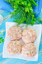 Raw meat balls on a table Stock Photo