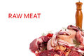 Raw meat mixed mix steaks poultry sausages ham chopped and minced Royalty Free Stock Photography