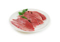 Raw Meat. Pork Steaks With Dill on a Dish Isolated against White Background Royalty Free Stock Photo