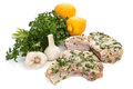 Raw mexican citrus pork chops marinated with fresh parsley lemons and garlic Stock Images