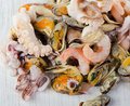 Raw mixed seafood selective focus Royalty Free Stock Images