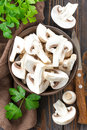 Raw mushrooms in a bowl Stock Photo