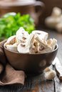 Raw mushrooms in a bowl Stock Images