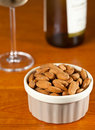 Raw organic almonds in bowl Royalty Free Stock Photography