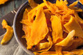 Raw organic dried mangos in a bowl Royalty Free Stock Photography