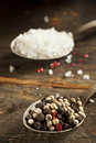 Raw organic sea salt and pepper against a background Royalty Free Stock Photography
