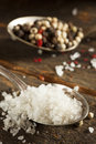 Raw organic sea salt and pepper against a background Stock Photo