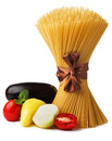 Raw pasta with vegetables.  Stock Image
