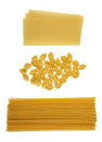 Raw pastas three different types of pasta on white background Royalty Free Stock Photography