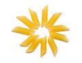 Raw penne pasta sun on white Stock Photo