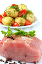 Raw pork and boiled potatoes Stock Image