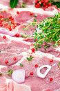 Raw pork meat and seasoning Royalty Free Stock Image