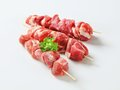 Raw pork skewers studio shot Stock Image