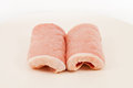 Raw pork slice two slices of preparing to cook Royalty Free Stock Photo