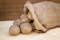 Raw potatoes in a hessian sack Royalty Free Stock Images
