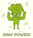 Raw power poster. Broccoli man. Cute kawaii cartoon person. Flat line design. Healthy vegan food character in sunglasses. Natural Royalty Free Stock Photo