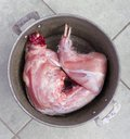 Raw rabbit meat in a metal pan Royalty Free Stock Photography