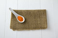 Raw red lentils white ceramic spoon sitting burlap white wooden boards Royalty Free Stock Photos