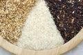 Raw rice on wood tray Stock Photos
