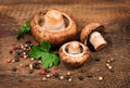 Raw royal champignon on wooden background Stock Images