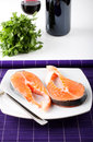 Raw salmon on dish Stock Photo