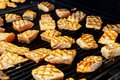Grilled salmon steak on the flaming. Royalty Free Stock Photo