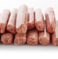 Raw sausage links breakfast close up Royalty Free Stock Photos