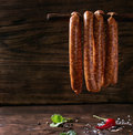 Raw sausages for BBQ Royalty Free Stock Photo