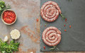 Raw sausages Royalty Free Stock Photo