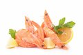 Raw shrimp and lemon isolated Stock Images