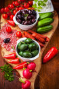 Raw snack with antipasti vegetables yogurt dip and Royalty Free Stock Photos