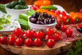 Raw snack with antipasti vegetables yogurt dip and Stock Image