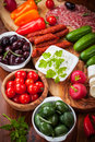 Raw snack with antipasti vegetables yogurt dip and Stock Photography